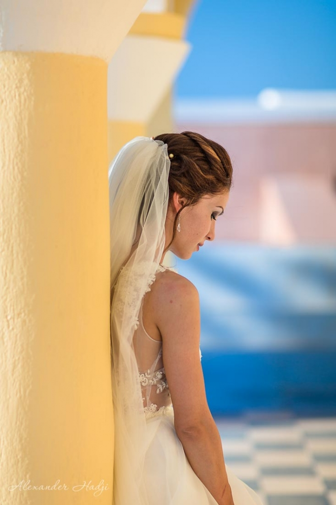Santorini wedding bridal portrait