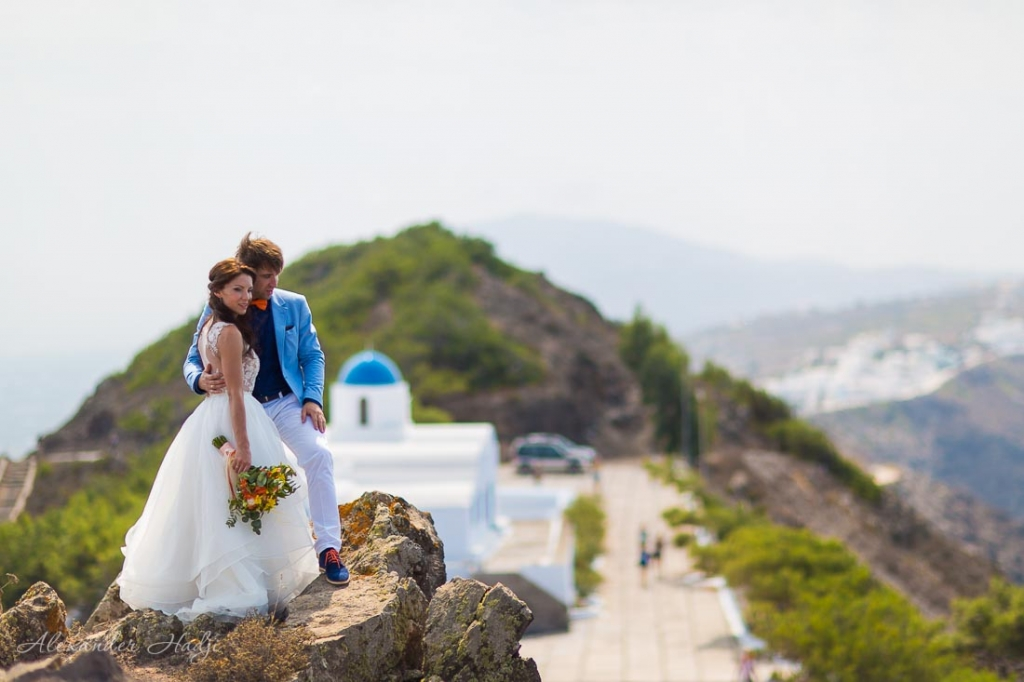 Santorini wedding photography blue domes