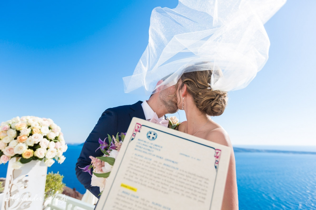 Santorini wedding photoshoot wedding certificate