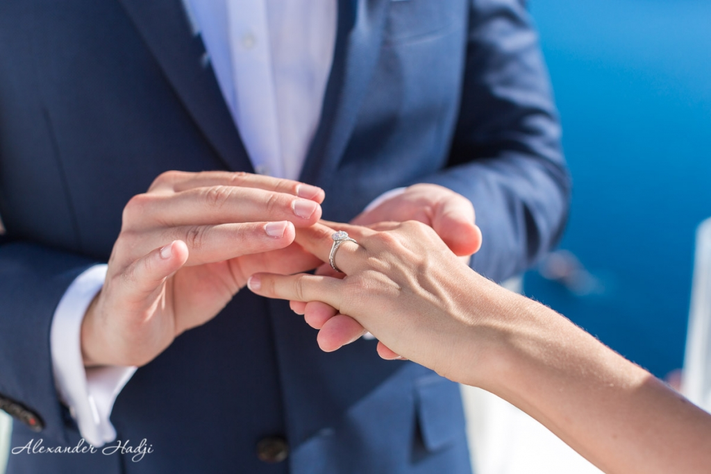 Santorini wedding photoshoot rings